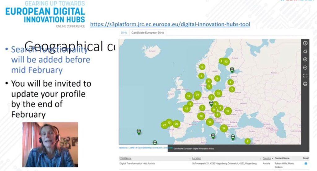 Captura de pantalla de la conferencia EDIH2021 donde se ve a Anne-Marie Sassen y el mapa de Europa con la localización de los DIHs seleccionados.